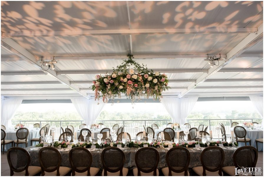Floral Chandelier Wedding on Potomac View Terrace. Howerton+Wooten Events.