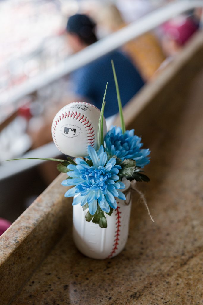 Fun Baseball Themed Centerpiece. Howerton+Wooten Events.