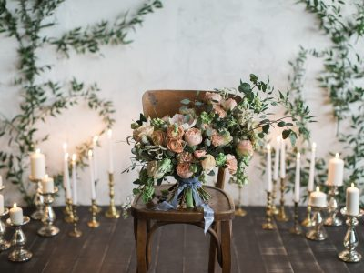 Wedding Bouquet in a Wooden Chair. Howerton+Wooten Events.