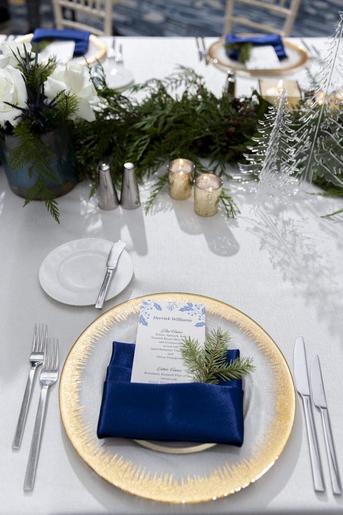 Custom Menu Card at Corporate Holiday Party. Howerton+Wooten Events.