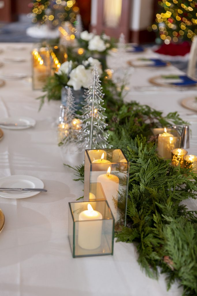 Green Garland and Acrylic Trees. Howerton+Wooten Events.