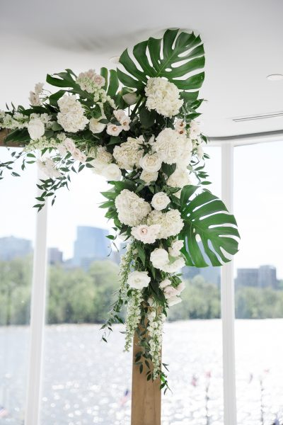 Tropical and Spring Flowers Ceremony Arch. Howerton+Wooten Events.