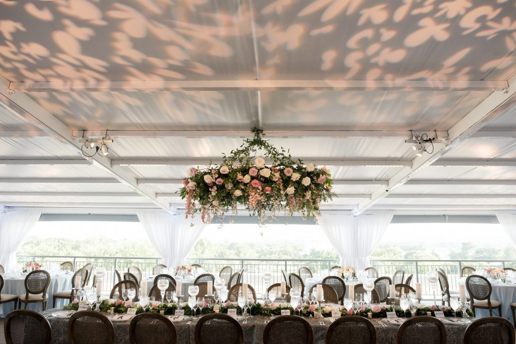 Hanging Wedding Flower Chandelier. Howerton+Wooten Events.
