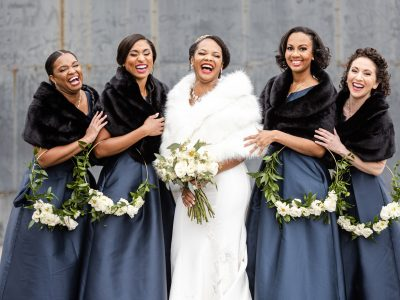 Bride and Bridal Party in Fur Wraps. Howerton+Wooten Events.