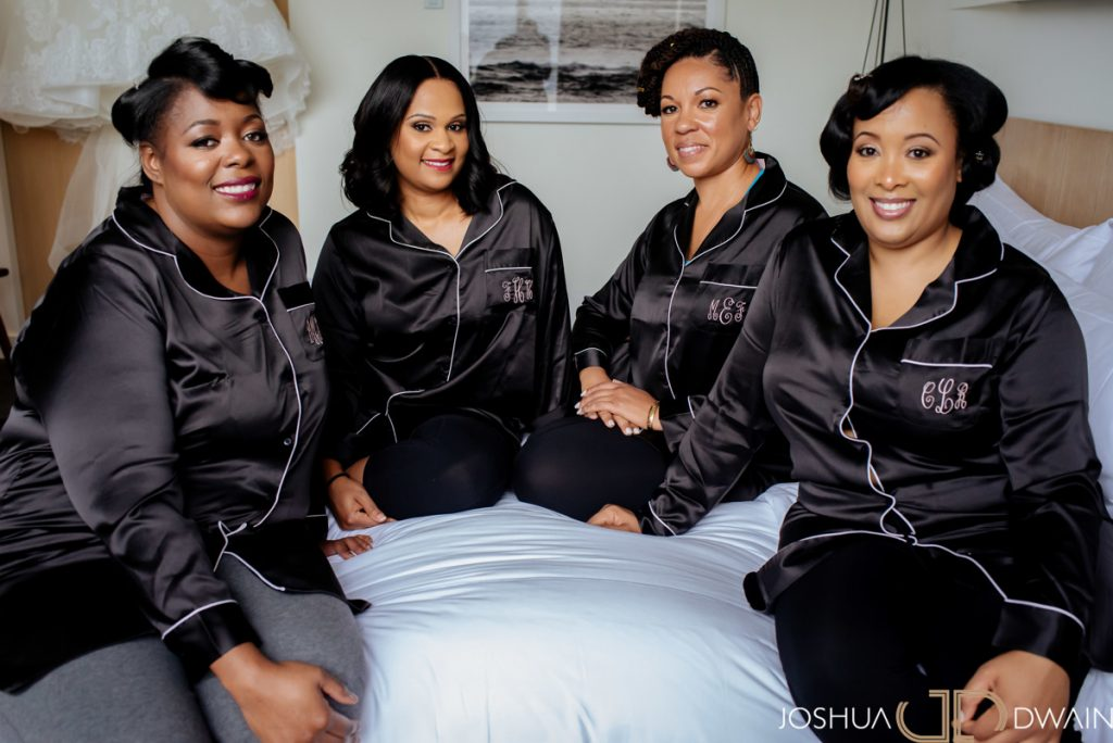 Bridal Party in Black Pajamas. Howerton+Wooten Events.