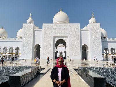 Kawania Wooten at the Sheikh Zayed Grand Mosque in Abu Dhabi