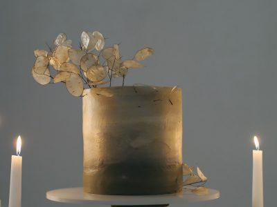 Gold Ombre Single Tier Wedding Cake. Howerton+Wooten Events.